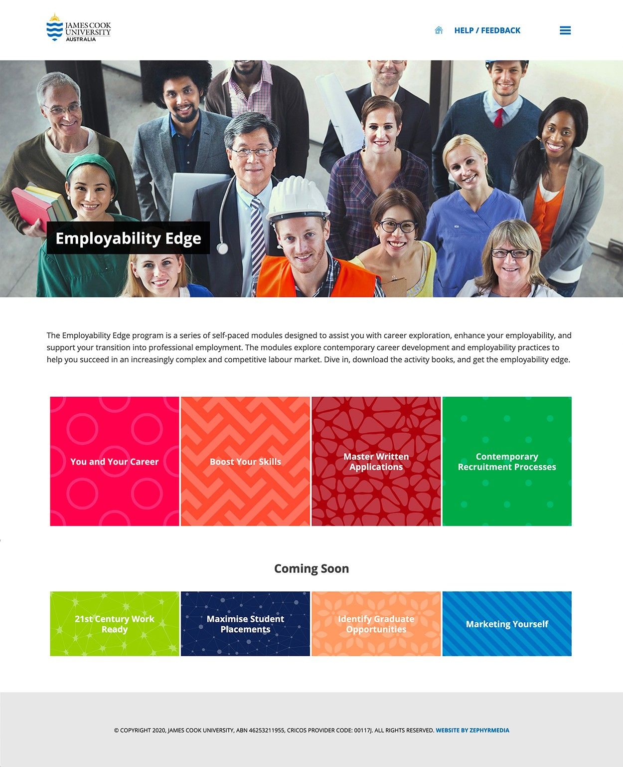 JCU Employability Edge home page layout