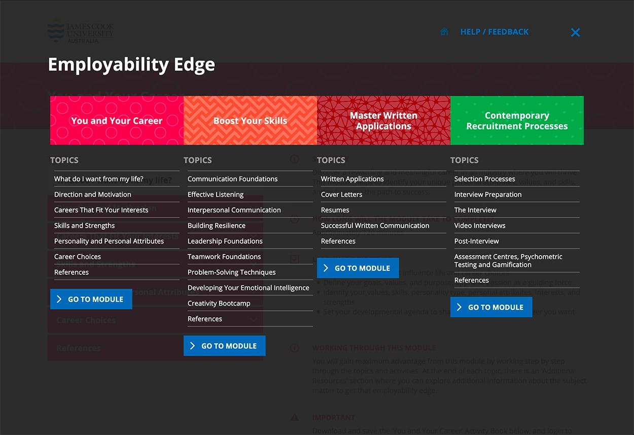 JCU Employability Edge Navigation